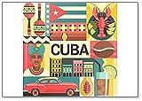 Imán para nevera con diseño de póster de viaje de Cuba
