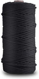 Zaloife Makramee Garn 3 mm x 100 m Baumwollgarn Schwarz Baumwollkordel Kordel-Strickarbeiten Kettgarn Baumwollschnur für DIY Handwerk Basteln Wand Aufhängung Pflanze Aufhänger