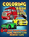 Cars, Trucks and Muscle Cars Coloring Book for Boys: 60 Unique Coloring Pages, Cars, Trucks, Мuscle cars, SUVs, Supercars and more popular Cars for Kids ages 4-8, 8-12 (Part 1)