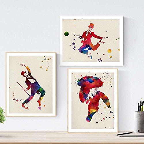 Nacnic Set de 3 láminas para enmarcar Cine Clásico Estilo Acuarela. Posters con imágenes de Fred Astaire, tamaño 30x40 cm. Decoración de hogar