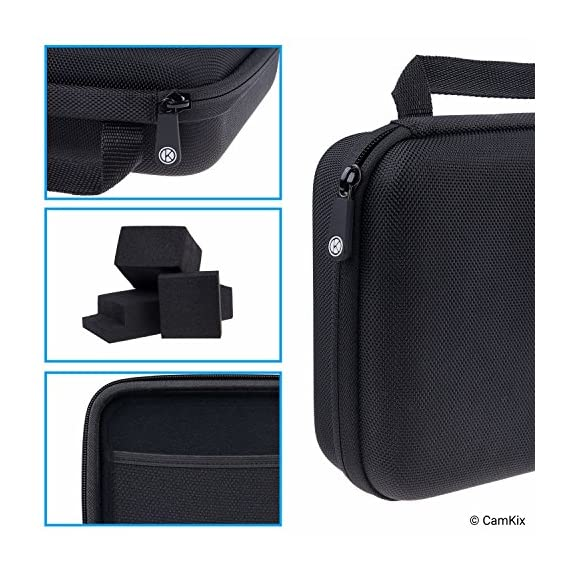 CamKix Case Compatible with GoPro Hero 7 / 6 / 5 Black - Perfect for Travel and Storage - Versatile EVA Interior with… 5 TRAVEL + STORAGE CASE: Keep your GoPro Hero 6 / 5 camera and accessories organized, dust-free and protected inside this case. Grab & Go when you're ready to shoot some spine-chilling action. Store it, when you're not. FOR GOPRO HERO 7/6/5 AND ACCESSORIES: This case is designed specifically for the GoPro Hero 5 Black camera. Tailor made, fits perfectly. The elastic mesh pocket and extra compartments are ideal to store flat mounts, quick release buckles, thumb screws, USB cable, memory cards, etc. VERSATILE INTERIOR: You can remove/add parts of the high quality EVA material to create different interior layouts for various purposes (see pictures for examples). Any interior layout you create will fit your GoPro Hero 5 camera and accessories seamlessly. The shock-absorbing padding provides extra protection to your camera and other equipment stored inside the case.