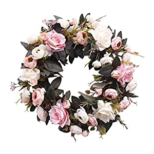 HooAMI 14 Inches Rose Wreath Silk Spring Summer Front Door Wreath, Artificial White Pink Flower Wreaths Floral Wreath Hanging for Farmhouse Office Home Wedding Decor