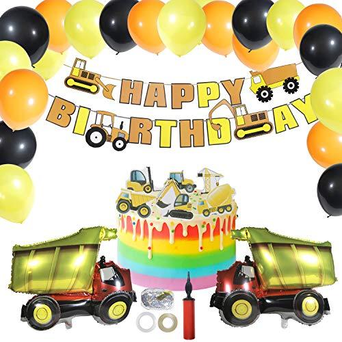 Ulikey BAU Geburtstag Party Dekorationen, Bagger Kindergeburtstag Deko Set, Baustelle Geburtstag Deko Luftballons, Happy Birthday Girlande Baufahrzeug Feuer Truck Folienballons für Jungen