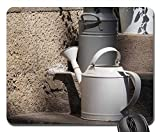 Mouse Pad - Pot Watering Can White Garden Vessel Old Metal