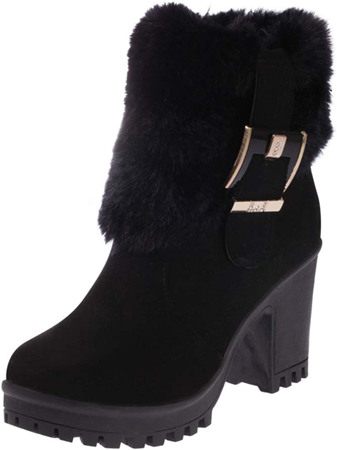 CYBLING Women's Winter Fluffy Snow Boots Warm Suede Chunky High Heel Furry Ankle Booties