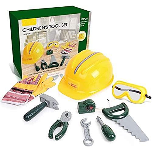 Generic 10 STÜCKE Kinder Werkzeug-Set,Werkzeug-Spielset für Kinder mit Schutzhelm Goggle Handschuhe und Werkzeugzubehör,Rollenspielspielzeug Lerngeschenke für Jungen und Mädchen ab 3 Jahren