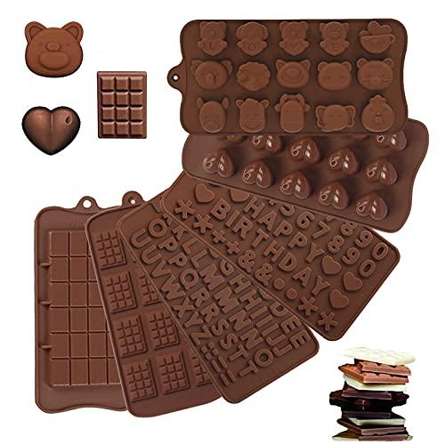6pcs Stampi in Silicone per Cioccolatini e Caramelle Stampi per Lettere e Numeri di Cioccolato Stampi in Silicone Cioccolato Antiaderenti per Torte di Muffin ai Cioccolato e Caramelle 6 Forme