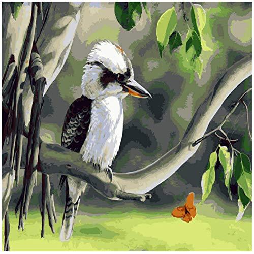 Wxswz kindertekening huis vogels in boom afbeelding op cijfers voor volwassenen modern beeld van muurkunst DIY handgeschilderd doek om te beschilderen decoratie voor thuis 50 x 65 cm zonder lijst