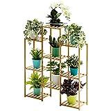 Bamboo 9-Tier Hanging Plant Stand Planter Shelves Flower Pot Organizer Storage Rack Folding Display Shelving Plants Shelf Unit Holder