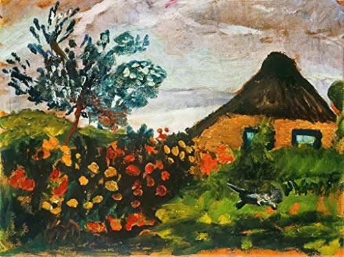 Kunstdruck/Poster: Paula Modersohn-Becker Bauernhaus mit Blumengarten und Katze - hochwertiger Druck, Bild, Kunstposter, 55x40 cm