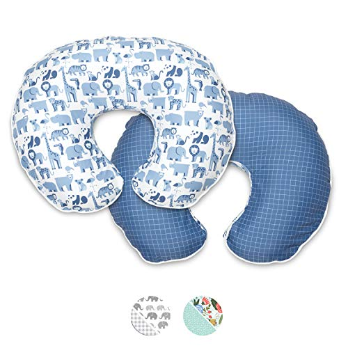 Boppy Premium Nursing Pillow Cover, Blue Zoo, Ultra-soft Microfiber Fabric in a fashionable two-sided design, Fits All…