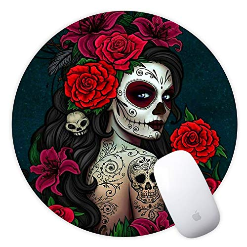Mouse Pad Round Mousepad for Gaming Office Sugar Skull Girl Design Mat Desk Thick Non-Slip Rubber Cloth Mat (20CM x 20CM x 3MM) for Computers Laptop