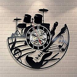 La Bella Casa Musical Instruments Unique Art Wall Clock Vinyl Wall Clock - Get Unique Wall Home Decor - Gift Ideas for Him and Her - Original Handmade Vintage Gift