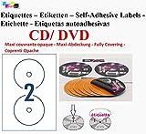 20 hoja de etiquetas 2 CD/DVD opaco adhesivo adhesivo etiquetas de hojas de diámetro 117 mm para impresora láser y de inyección de tinta
