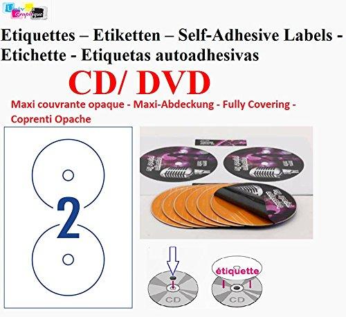 Hoja 50 de etiquetas 2 CD/DVD opaco adhesivo adhesivo etiquetas de hojas de diámetro 117 mm para láser y la impresora de inyección de tinta