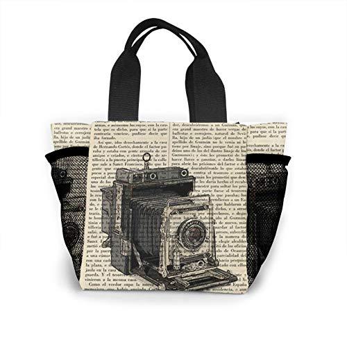 Lunch Box Vintage Camera Newspaper Bag Organizer For Women Men Teens, Office School Work Lunch Organizer Premium Handbag Insulated Lunch Bag