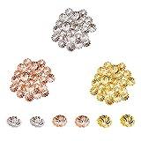 PandaHall Elite 600pcs / Box Messing Blume Bead Caps Bead endet für DIY Schmuck Machen, 7x2mm, Loch: 1mm, Golden/Silber/Rose Gold