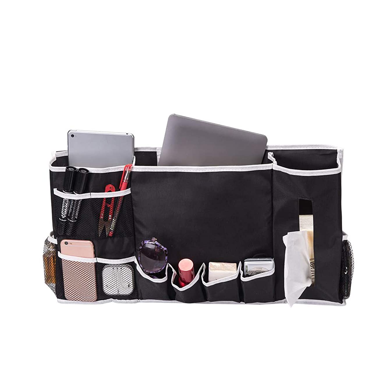 12 Pockets Bedside Caddy Organizer Hanging Storage Organizer Holds Your Laptop, Books, Tablet, Phone, Water Bottle, and More (HGJ68)