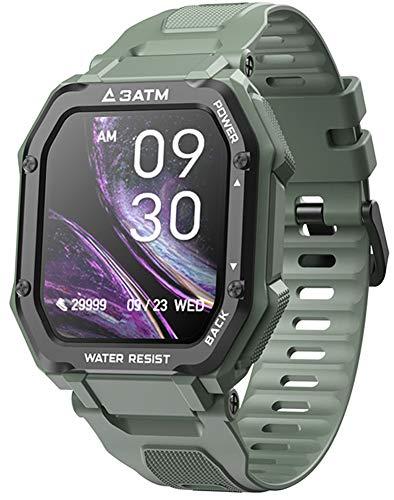 YGMDSL 1.7'HD Reloj Inteligente con Pantalla Táctil Completa Reloj De Pulsera para Hombre Rastreador De Ejercicios Bluetooth Heart Rate Sport Rastreador De Actividad para Android iOS (Green)