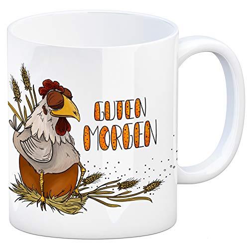 trendaffe - Guten Morgen Kaffeebecher mit Huhn und Ei Motiv Hühner Hahn Ei Frühstück Henne