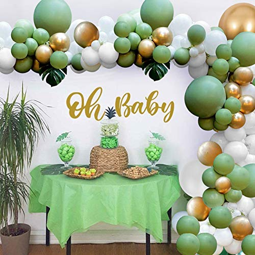 Green Balloon Garland Arch Kit, Avocado Green & White & Gold Latex Balloons, Great for Baby Shower, Birthday, Wedding, Tropical Party, Graduation or Jungle Safari Theme Backdrop Party Decoration