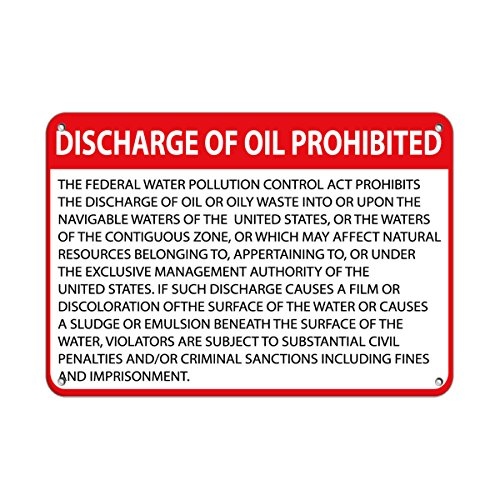 """Discharge of Oil Prohibited?! Hazard Sign Waste Signs Label Vinyl Decal Sticker Kit OSHA Safety Label Compliance Signs 8"""""""