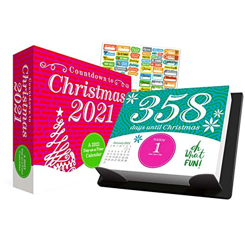 Countdown to Christmas 2021 Calendar, Box Edition Bundle - Deluxe 2021 Countdown to Christmas Day-at-a-Time Box Calendar with Over 100 Calendar Stickers (Xmas Gifts, Office Supplies)