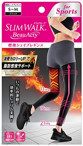 ピップスリムウォーク(SLIMWALK)ビューアクティ(BeauActy)燃焼シェイプレギンススポーツ用ブラックS~Mサイズ着圧
