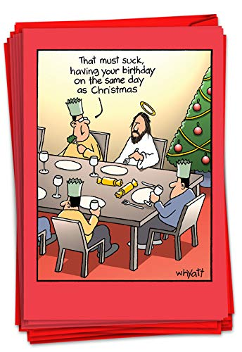 NobleWorks - 12 Funny Christmas Greeting Cards with Cartoons - Comic Boxed Set, Humor Xmas Notecards (1 Design, 12 Cards) - Birthday Sucks B1690