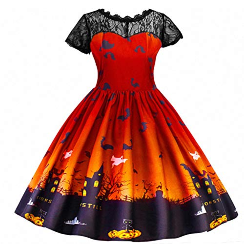 Riou Partykleid Halloween Kostüm Mädchen Kleider Kurzarm Kürbis Fledermaus Printed Party Costume Cospaly Kostüm für Fasching Karneval Halloween Abendkleid