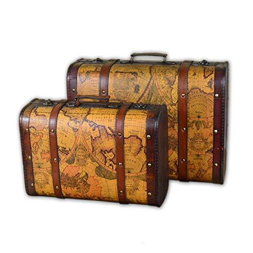 ODDINER Valigia Decorativo Set di 2 Vintage Bagagli Decorativo Valigia Mappa a Tema Treasure Chest Plain Scatola di Legno con Cuoio Trunks Bagagli (Colore : Marrone, Dimensione : Large+Small)