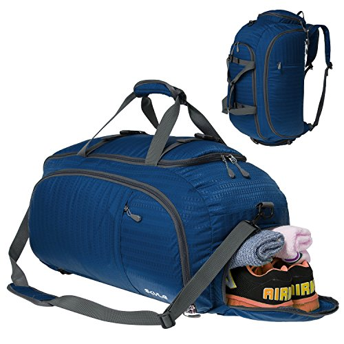 Malist 3-Way Gym Sport Bag 45L Travel Duffel Bag Backpack with Shoe Compartment Blue