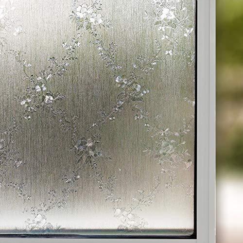 LMKJ Película de Vidrio de Ventana de privacidad para el hogar privacidad Opaca sin Cola 3D estático Reutilizable en Relieve Etiqueta de la Cubierta de Vidrio de Ventana Flor A73 30x100cm