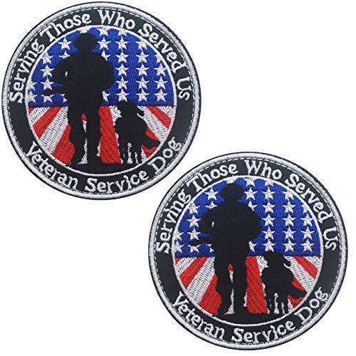 Veterans Service Dog Serving Those Who Served Us Vests/Harnesses Military Tactical Morale Badge Emblem Embroidered Fastener Hook Loop Patchfor Dogs Pets 3.15inch Diameter 2PCS