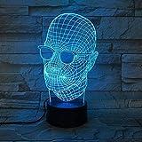 Luz de noche 3D con gafas, calavera, luces de ilusión óptica, lámpara de...