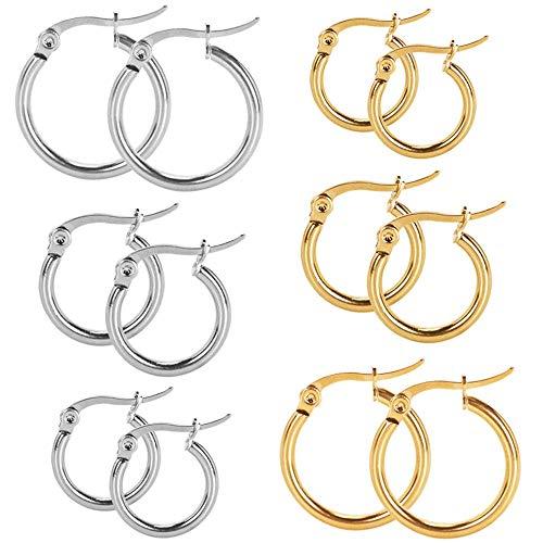 Senmaid Juego de 6 pares de pendientes de aro pequeños de acero inoxidable para niñas y mujeres, plata, oro