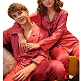 Frauen Männer Pyjamas Langarm-Silk Morgenmantel Bequem Und Weich Frühling Und Herbst Zweiteilige Sets (Color : Mens, Size : XXXL)