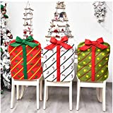Global-store Christmas Chair Covers for Dining Room, 3 Pieces High Back Chair Cover, 3 Colors Dining Chair Slipcover for Christmas Banquet Kitchen Dinner Decorations(1xChristmas Tree+1xCane+1xStar)