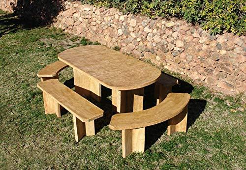 DEGARDEN Conjunto de Mesa Comedor Mara Alargada 183cm. y Bancos para jardín o Exterior de hormigón-Piedra púlido