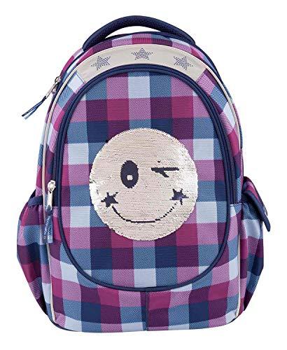 Depesche 10208 - Schulrucksack Topmodel Smiley mit Pailletten, blau