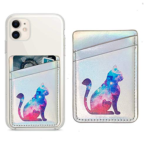 Cell Phone Card Hoder Sleeves RFID Blocking PU Leather Pocket Wallet Stick on Cell Phone Credit for Back of iPhone,Android Smartphones (Nebula Cat)