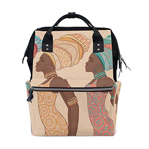 Bennigiry African American Girls Sac à langer à Sac à dos Grande capacité de voyage à dos multifonctions Organiseur de sacs à couches bébé Sacs pour Mom