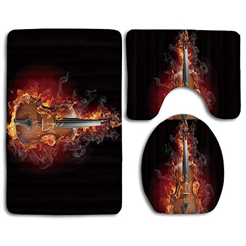 Not Applicable Musik brennende Geige schwarzer Hintergrund Badezimmerteppich-Set 3-teiliges Bad Kontur Matte Toilettendeckel U-förmige rutschfeste Home Waschraum Dekor