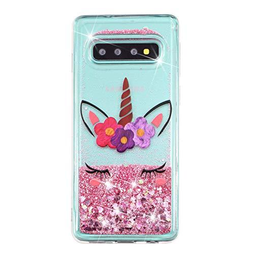 Funda para Samsung Galaxy S8 Plus, Galaxy S8 Plus con purpurina arenas movedizas líquidas anticaída Flotantes Delgado Cristal Silicona Carcasa funda de silicona TPU para niñas mujeres,XY Unicorn