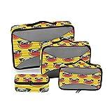 QMIN - Juego de 4 Cubos de Viaje con diseño de Rayas de sandía para Perros, Bolsa organizadora de Equipaje de Malla, Bolsa de Almacenamiento para Maletas de Viaje