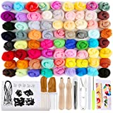 Needle Felting Kit,149 Pieces Needle Felting Tools for Beginner, 72 Colors Wool Roving Set with Wool Felt Tools and Foam Mat for DIY Complete Needle Felting Starter Kit