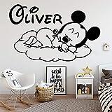 Mickey Mouse Etiqueta de La Pared Decal Nombre Personalizado Mickey Mouse Vinilo Etiqueta de La Pared Decoración para Nursery Room Kids Babys Decoración de la habitación