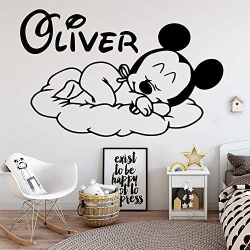 Mickey Mouse Etiqueta de La Pared Decal Nombre Personalizado Mickey Mouse Vinilo...