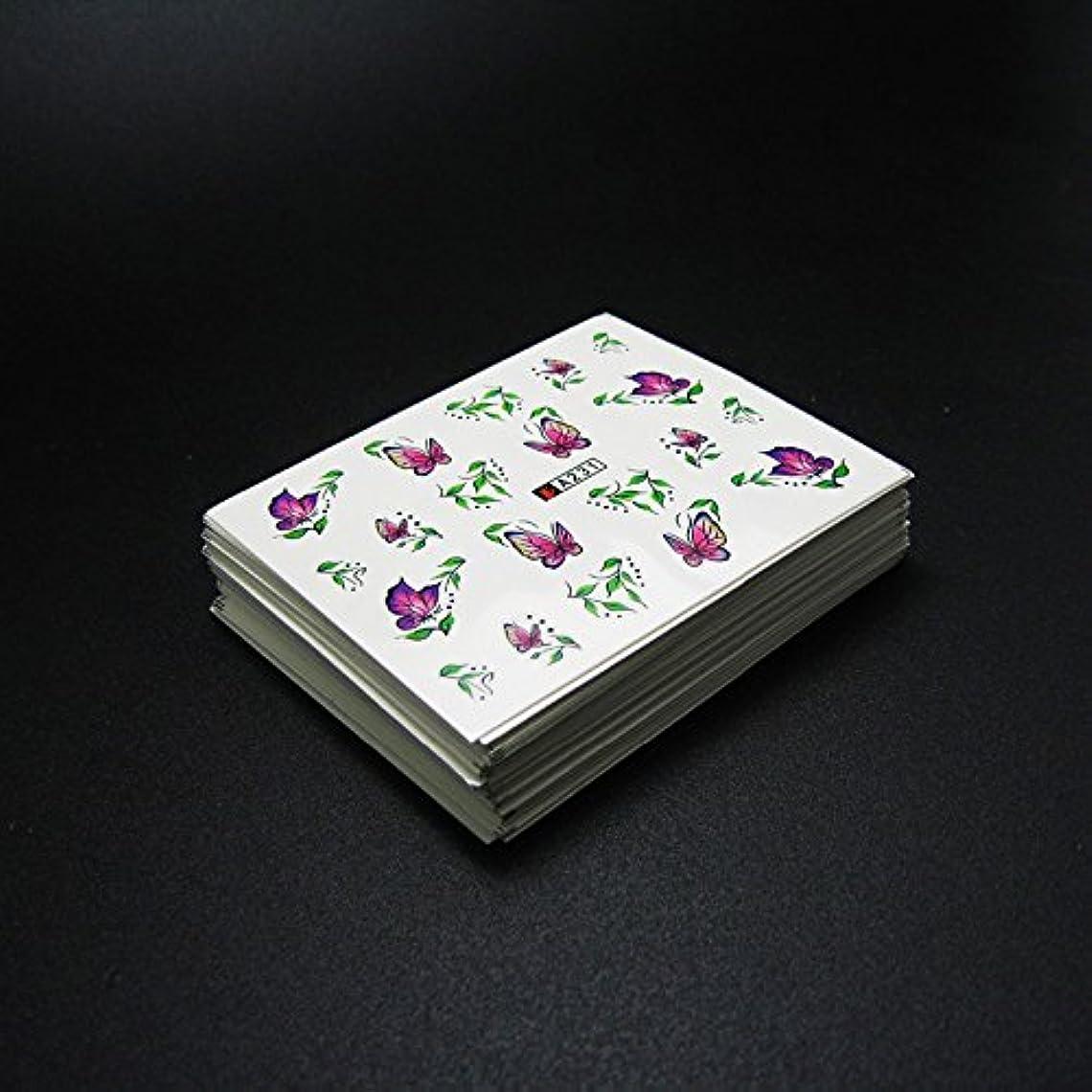 パラシュートいたずらな町50枚ネイルシールの花混在デザイン水転送ネイルアートステッカーウォーターマークデカールDIYデコレーション美容爪用ツール