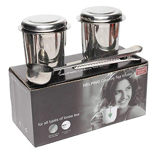 Dido´s Pack de 2 Infusor de Té en Acero Inoxidable Colador Filtro con Tapa y Asa para Tazas de Té Café Té a Granel Hojas Sueltas, con Bandejas de Goteo y Cuchara